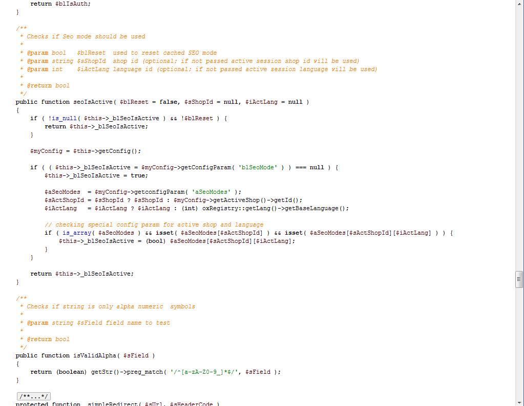Quellcode einer OXID-Core-Klasse