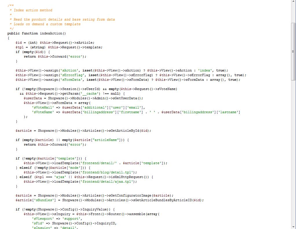 Quellcode einer Shopware-Controller-Klasse