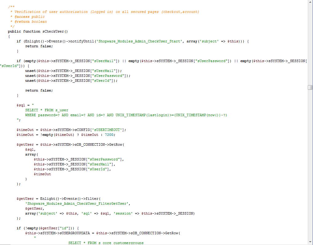 Quellcode einer Shopware-Core-Klasse