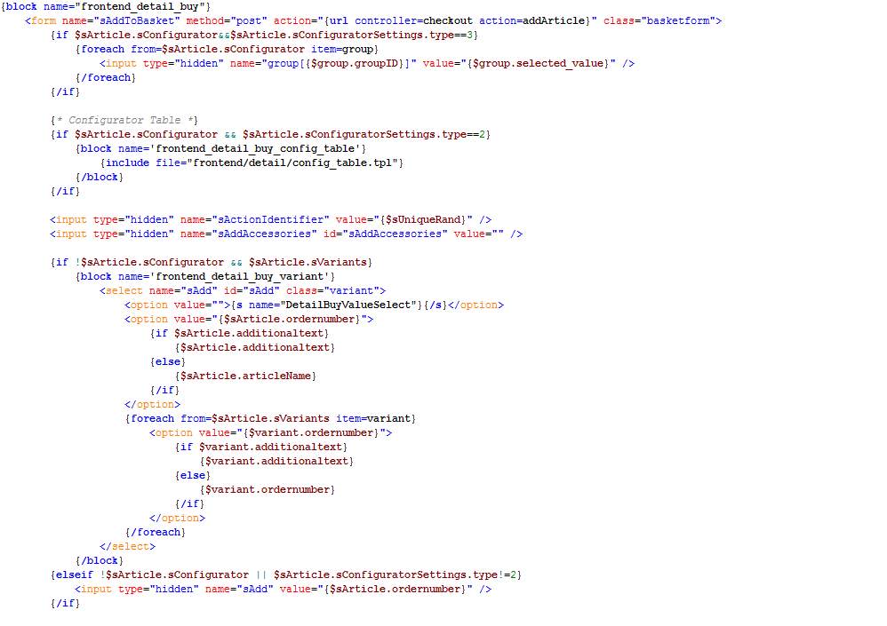 Shopware Template Code